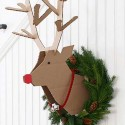 cardboard deer wall decoration with green christmas wreath