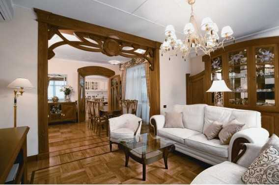 ... Interior Decorating In Modern Style. Carved Wood Door Frame And Wood  Wall Panels