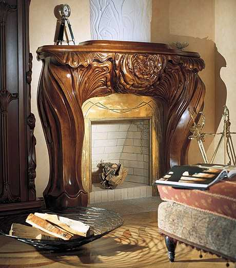 carved wood fireplace