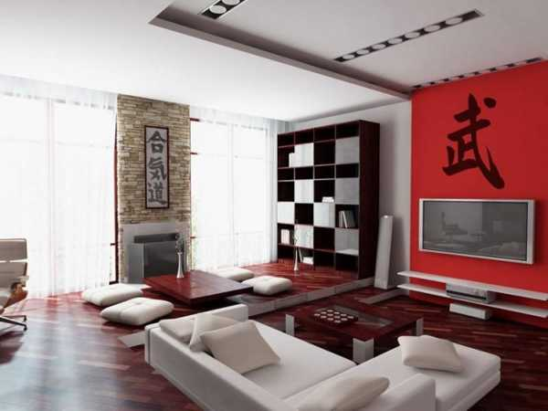 living room design with accent wall, oriental interior decorating with red color accent