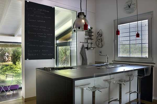 italian kitchen design with blackboard on wall