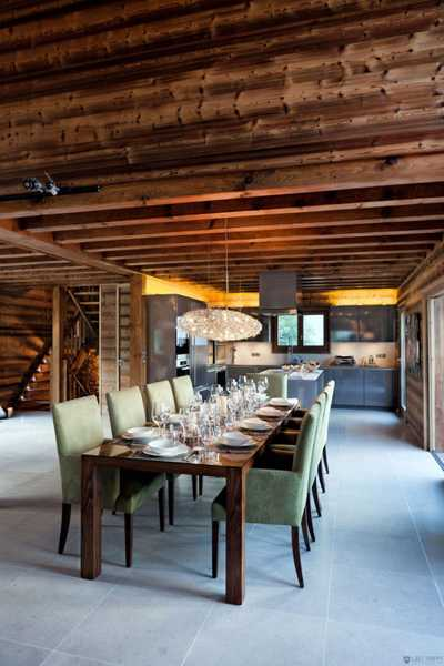 dining room with exposed ceiling beams