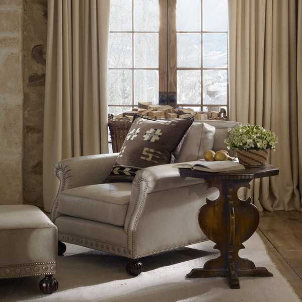 wood furniture and home fabrics in neutral colors