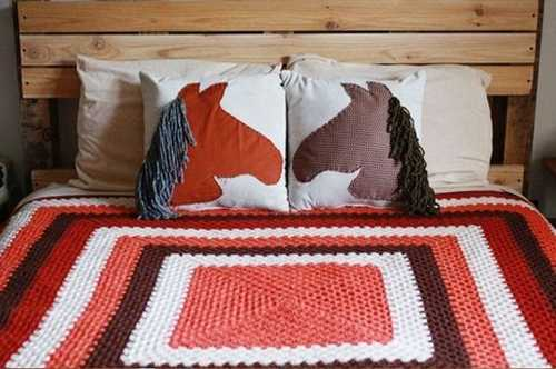 handmade pillow covers with horse head appliques