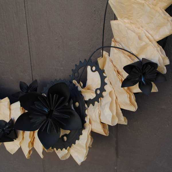 black and white wreath with paper flowers