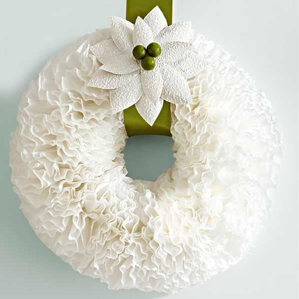 christmas wreath with white paper flower