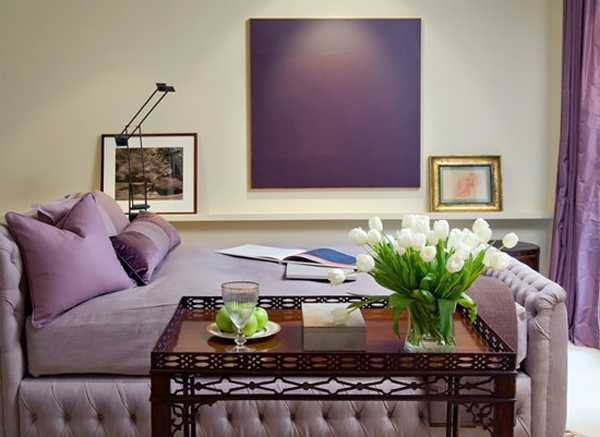 purple interior paint and sofa upholstery fabric