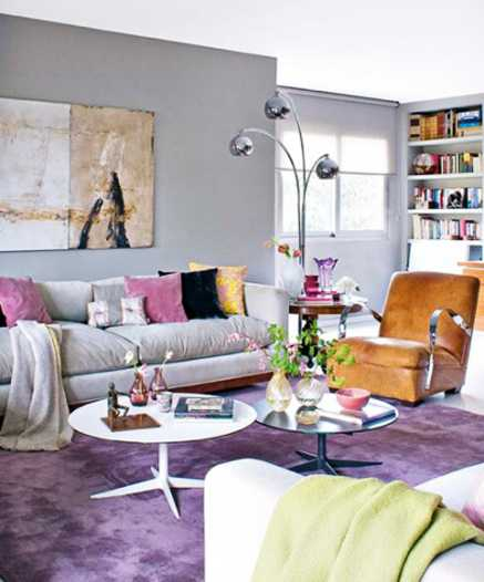purple floor carpet, living room furnishings