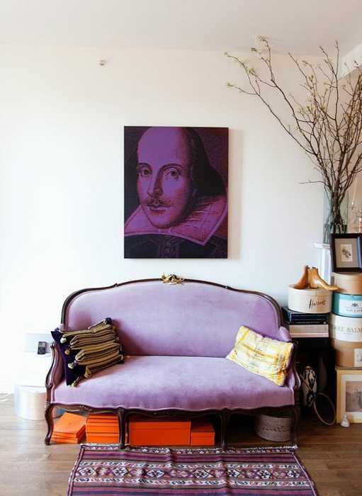 purple wall painting and sofa upholstery fabric