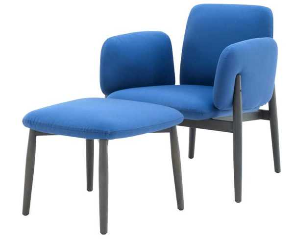 upholstered chair in blue color, japanese style fusion
