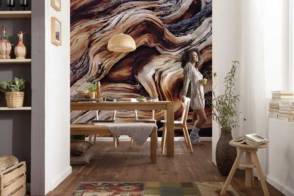 dining room with modern wallpaper pattern inspired by nature