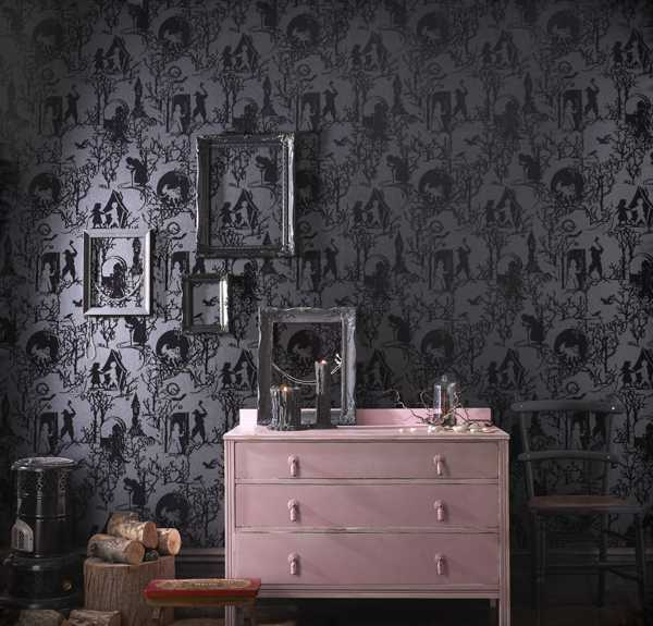 pink drawer and modern wallpaper in gray color
