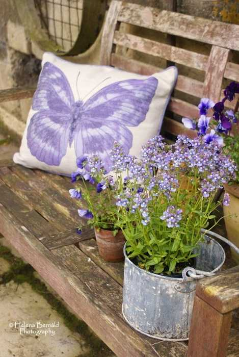 pillows woth purple butterfly decoration and purple flowers