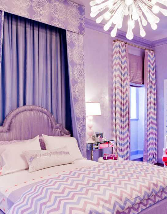 purple curtains and bed headboard upholstery fabric for bedroom decorating