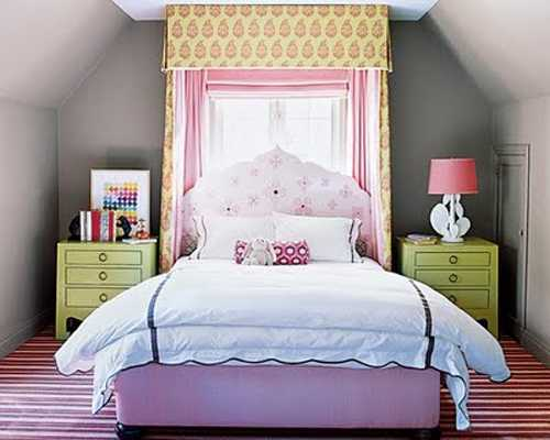 purple bed upholstery fabric with yellow curtains and light green night tables for bedroom decorating