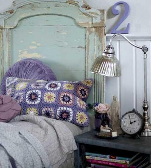 crochet decorative pillows in purple colors