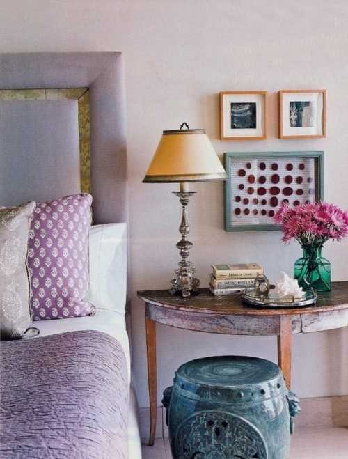 pillows and throw in purple color for bedroom decorating
