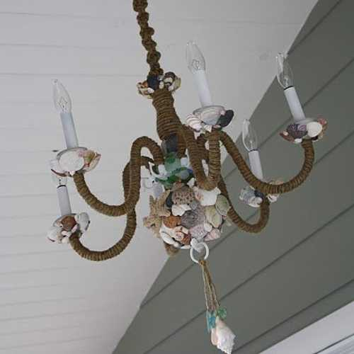 chandelier decorated with jute rope