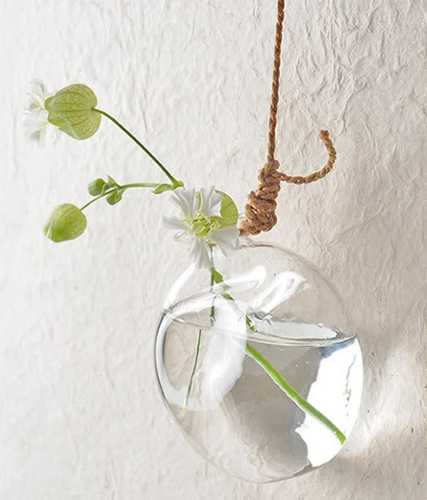 glass globe vase with jute rope for hanging