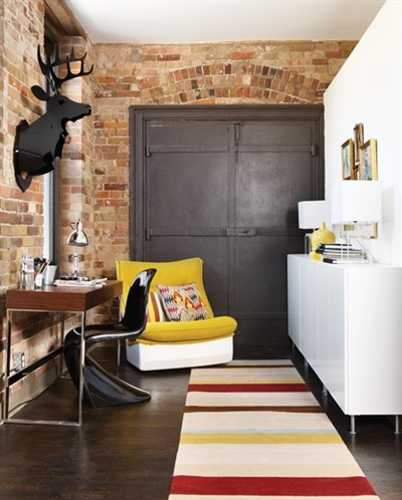 brick wall and vintage furniture