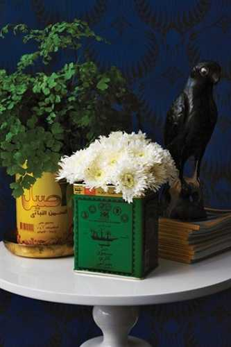 vintage decor accessories, metal cans with flowers