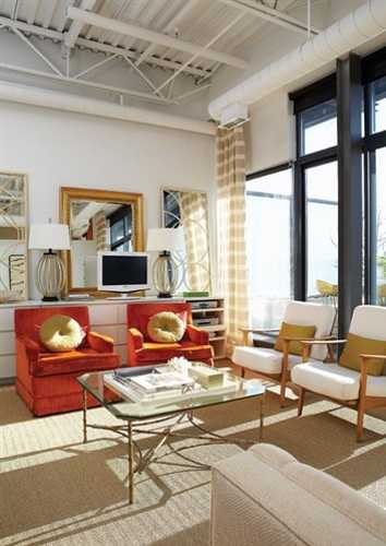vintage furniture for living room in orange and white colors