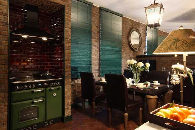 retro modern kitchen stove and brick walls for boho chic home decorating