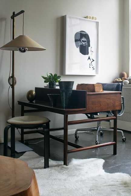 modern interior decorating with vintage furniture and decor accessories, antique desk stool and lighting