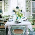 dining room decorating with turquoise floor carpet and white with green wallpaper
