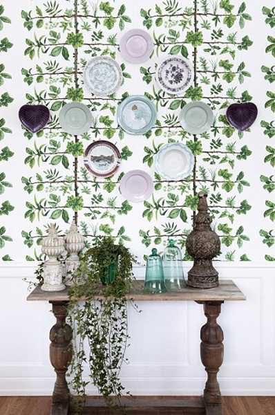 vintage furniture and decor accessories, white and green wallpaper with leaf patterns