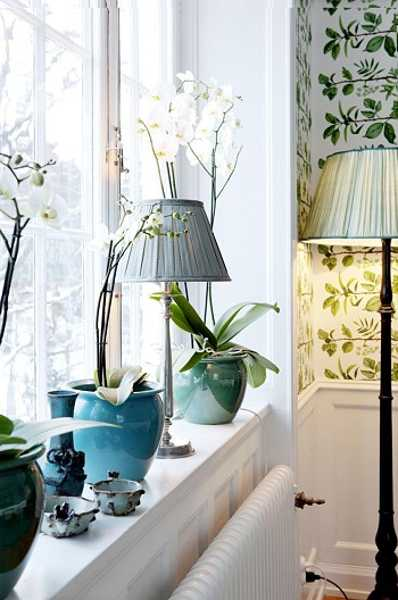 turquoise planters with white and green wallpaper