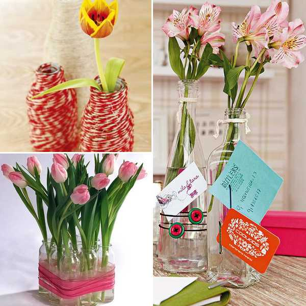 recycling glass vases and flower arrangements