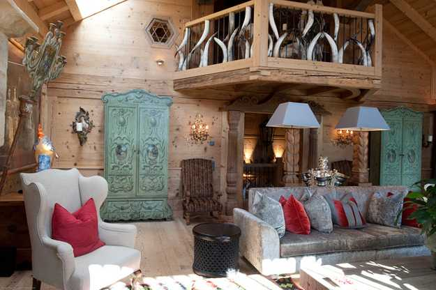 french ski chalet, vintage furniture