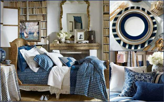 bedroom decorating in mediterranean style and blue colors