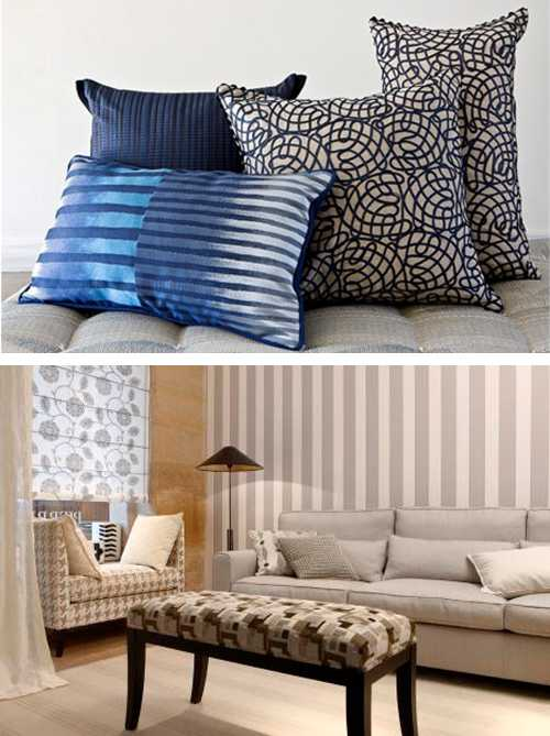 home fabrics in blue colors and neutral color shades