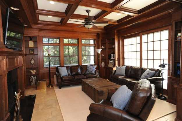 wooden ceiling beams and wall panels