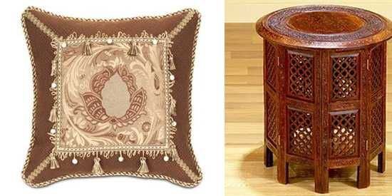 moroccan pillows and wood furniture