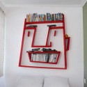 red face book shelves for office storage