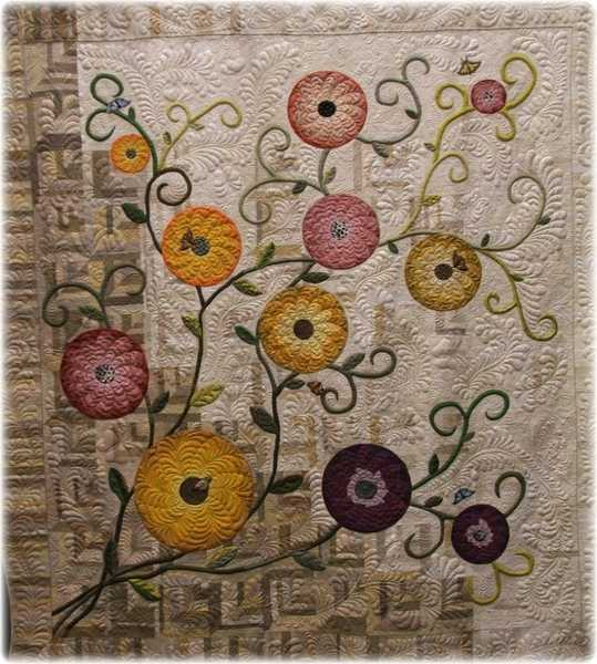 Contemporary quilt design, abstract flowers
