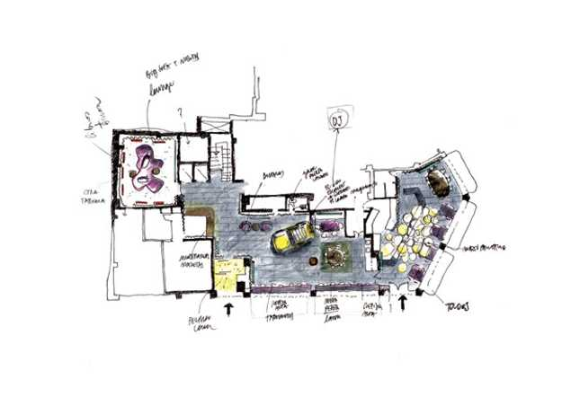layout plan with retro automobile