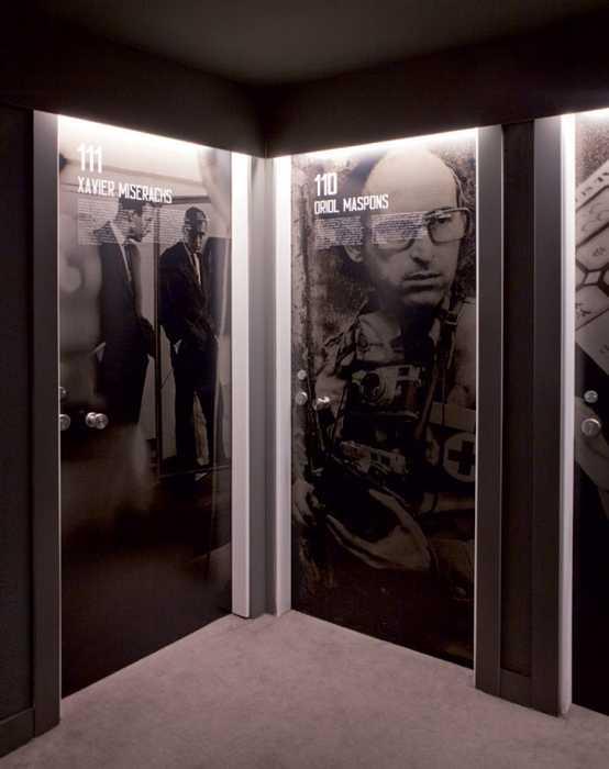 interior door decoration with 60s posters