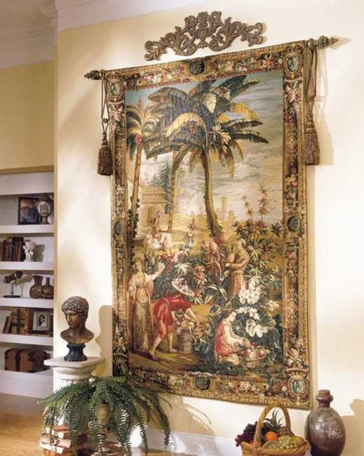 exotic fabric pattern on tapestry hanging