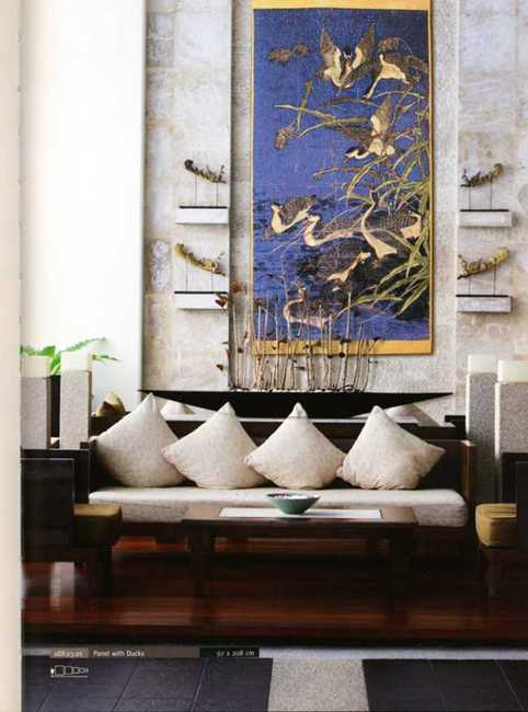 contemporary tapestry wall hanging with birds
