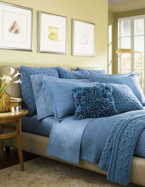 blue bedding with textured designs