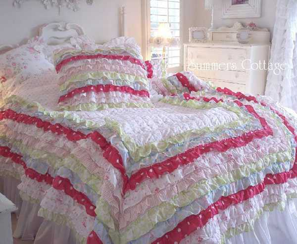 handmade bedding set in white and pink