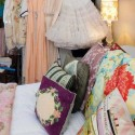 vintage decor accessories, pillows and vintage dresses