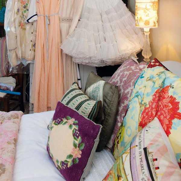 vintage decor accessories, pillows and vintage dresses