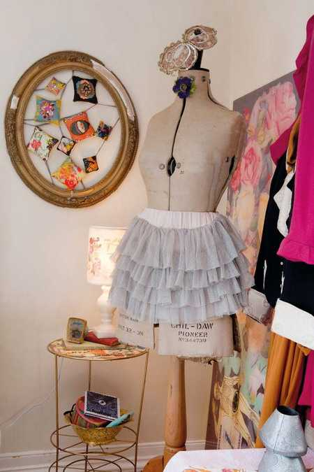 vintage dresses and photographs for wall decorating