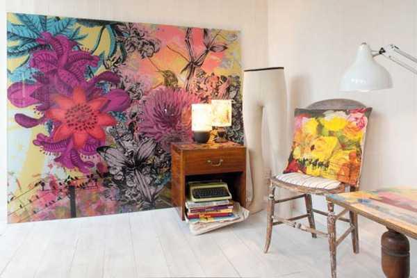 floral wallpaper and vintage furniture