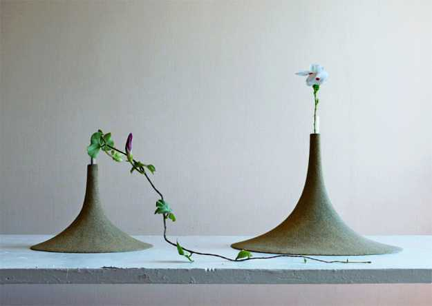 decorative vases in cone shape